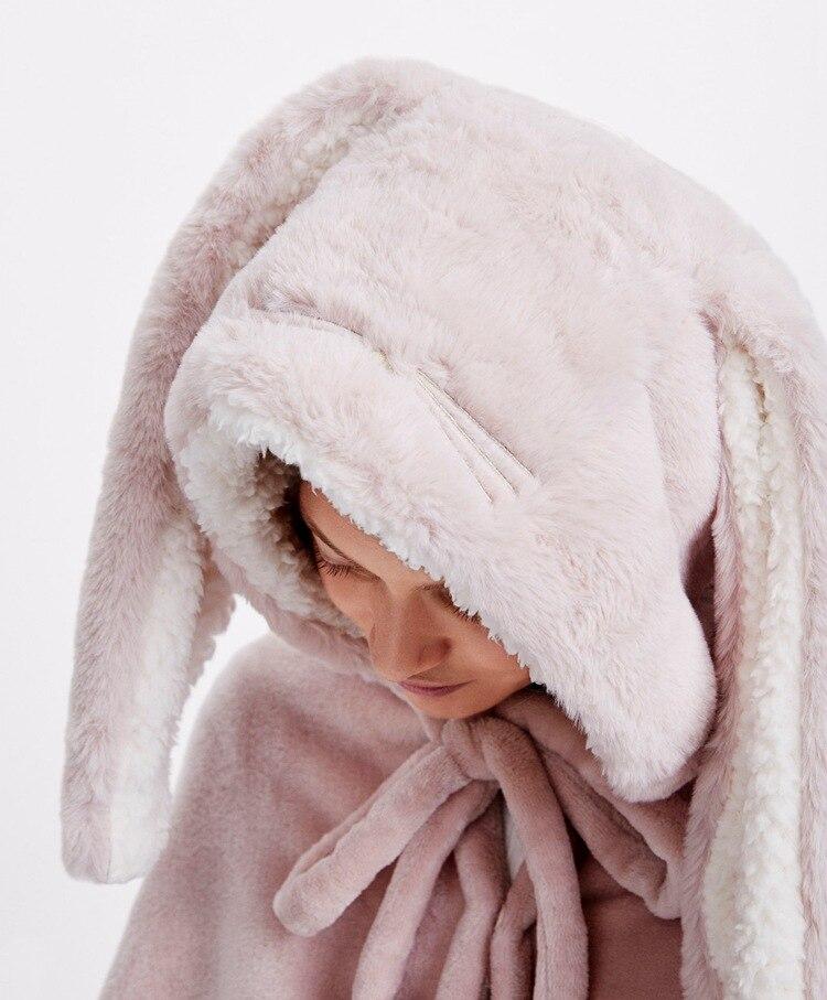 Cute Pink Comfy Blanket Sweatshirt Winter Warm Adults and Children Rabbit Ear Hooded Fleece Blanket Sleepwear Huge Bed Blankets 19