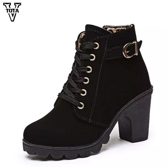 77b22637db VTOTA Mulheres Outono Botas Sapatos de Inverno Mulher de Salto Alto Mulheres  Sapatos Ankle Boots Zapatos