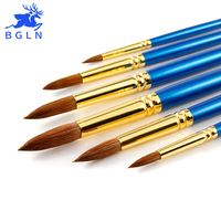Bgln Professional 6Pcs Set Weasel Hair Pointed Watecolor Paint Brush Hand Painted Watecolor Painting Brushes Art