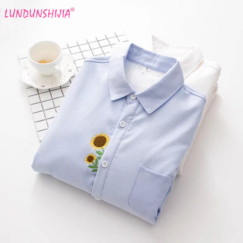 Lundunshijia Moda Girasol Blanco Cachemira Bordado Señoras Camisas Larga Invierno Manga Mujeres Tops Blusa Azul Algodón Azul blanco Más rXrgHxn