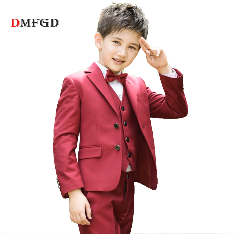 Fashion Kids Red suits boys wedding blazer boy clothing teenager school  party uniform costume suit for e60de1e505b9
