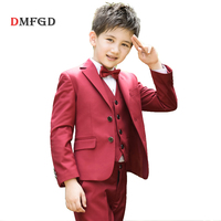 Fashion children Red suits boy blazer teenager kids school suit boys clothes formal clothing for wedding uniform costume tuxedo