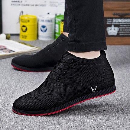 Новые Высокие Для мужчин дышащая мужская обувь повседневная обувь на шнуровке парусиновая обувь 2019 осень-зима модная обувь на плоской подо...