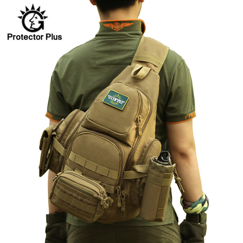 Men Tactical Sling Bag 14 inch Laptop Chest Bags Waterproof Molle Military Camping Hiking Hunting Outdoor Sport Bag Pack XA40D Climbing Bags     - title=