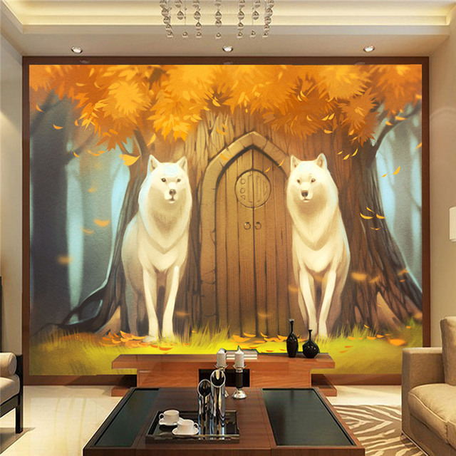 Cartoon Wall Mural Customize Photo Wallpaper Forest U0026 Wolf Anime Wallpaper  Decor Children Room Bedroom TV Part 86
