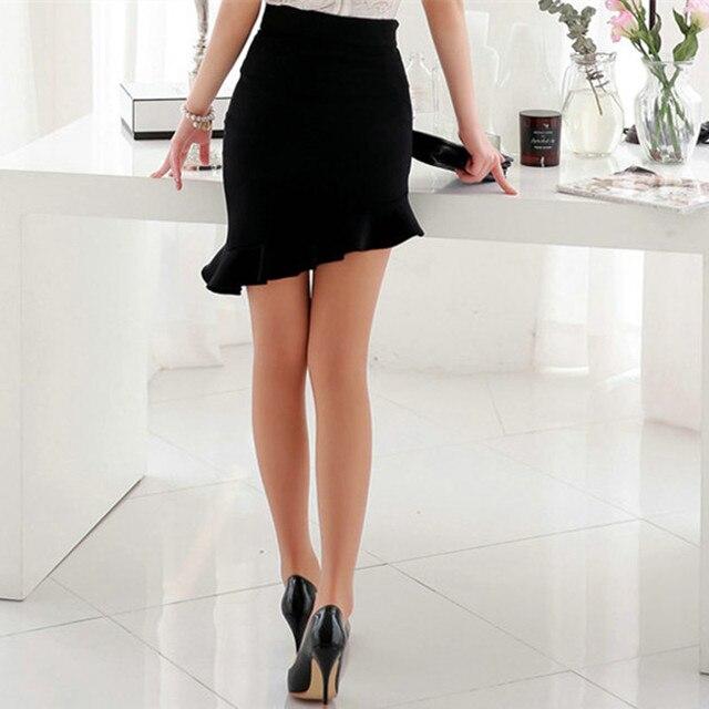 สาวใหม่สีดำความยืดหยุ่นสูงเอวกระโปรงเซ็กซี่ไม่สมมาตร Ruffles กระโปรงผู้หญิงแน่น Bias กระโปรง