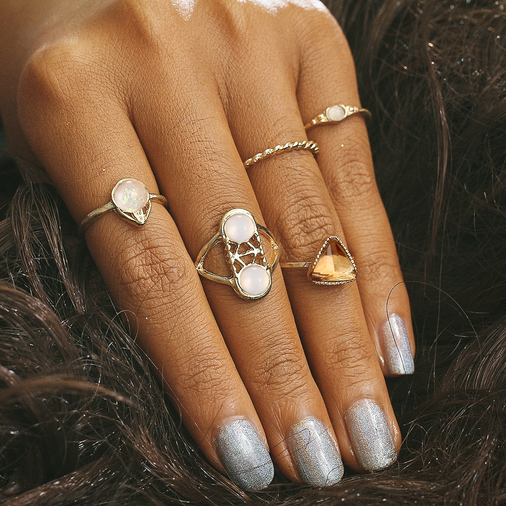 Antique Gold Color Geometric Finger Rings Sets For Women Hollow Triangle Stone Crown Flower Mid Knuckle Ring Jewelry 5 pcs