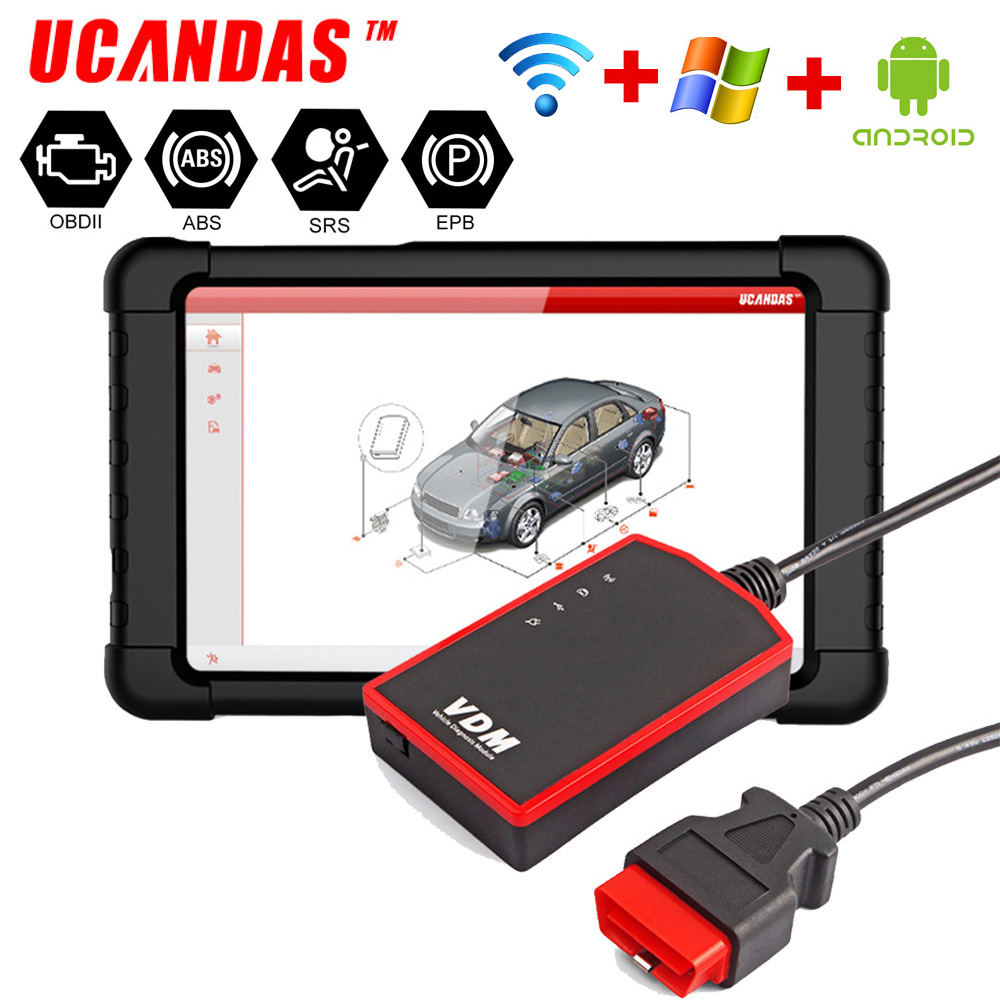 UCANDAS VDM WIFI OBD2 Automotive Scanner Full system ABS Airbag Oil change Multi LanguagesFree Update ODB