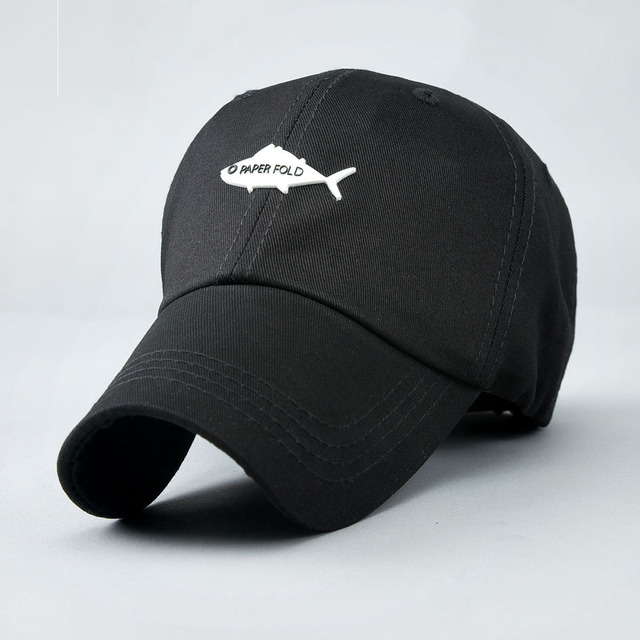 47efa684396f 3 Colors Cotton Men s Baseball Cap Summer Dress Customized Fish Design Back Letter  Embroidery Curved Brim