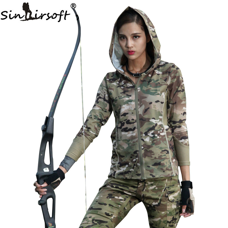 ФОТО SINAIRSOFT Women Camouflage Long Sleeve Hooded Military Tactical Urban Camo for Jogging Running Outdoor Sports Airsoft