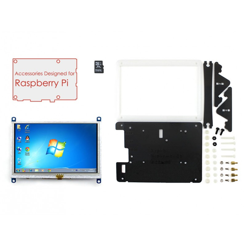 Raspberry Pi Accessories Pack E with 5inch HDMI LCD (B) + Bicolor case, 16GB SD card with US/EU Power Adapter for Raspberry Pi