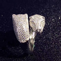 Designer Fashion 925 Sterling Silver Jewelry Platinum Plated 3A Cubic Zirconia Party Panther Ring