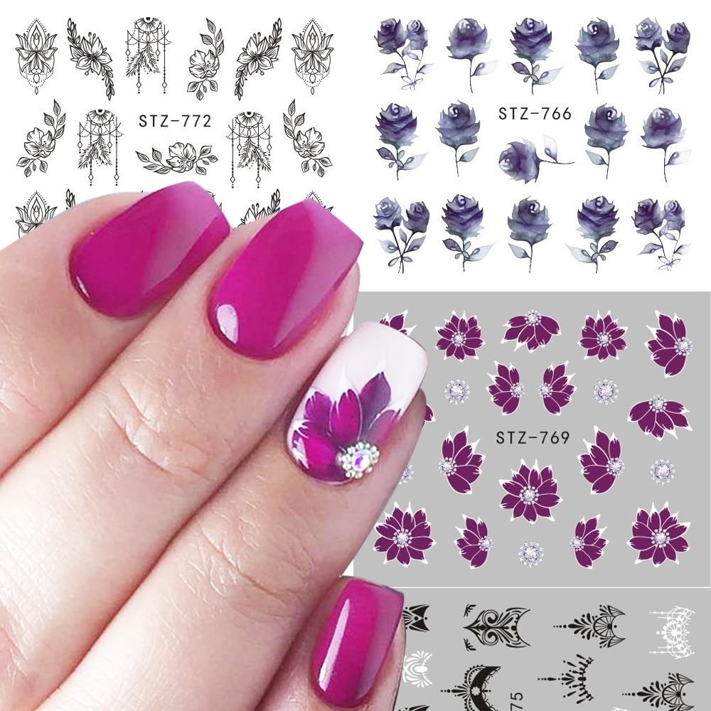 1pcs Black Flower Water Decals Hollow Geometry Sliders For Nail Art Decoration Cartoon Watermark Sticker Manicure JISTZ761-778