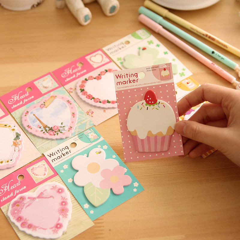 Kawaii Flower Heart Memo Pad Post Notes Cute Cake Sticky Paper Notepads For Kids Gift Korean Stationery Office School Supplie