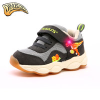 Dinoskulls Kids Boys Sneakers LED Light Up Children's Shoes 3D Dinosaur Mesh Breathable Baby Boy Trainers Srping Toddler Shoes