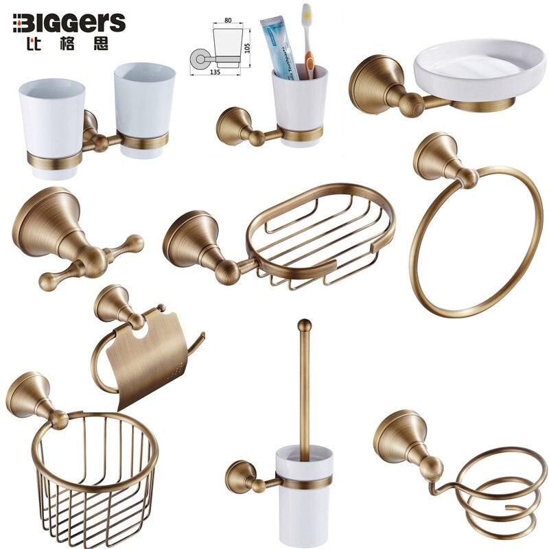 Escobillero set Retro vaso de porcelana colgante de cobre de baño inodoro taza accesorios Suministros de limpieza y saneamiento