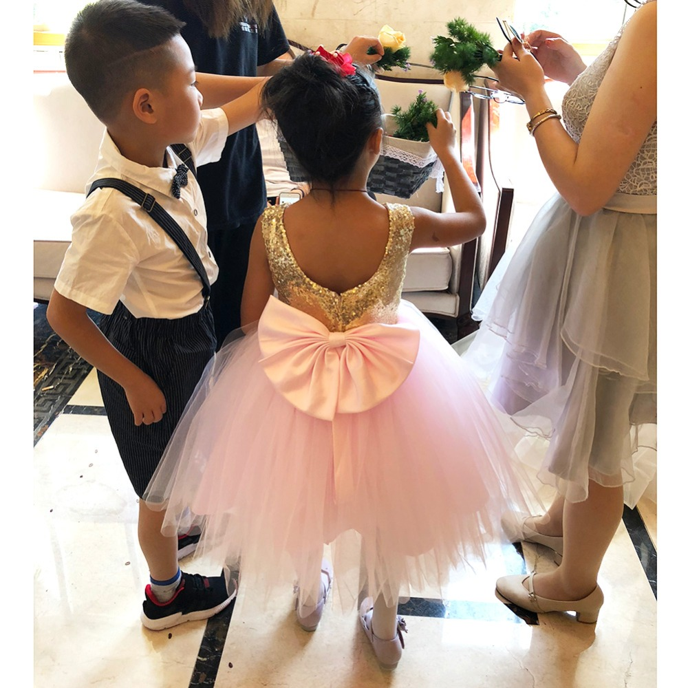 Pink Teen Wedding Dress Sequin Knee Length O-neck Paillette Girls Sequin Dress for Girls Sequin Evening Dress Tutu with Bowknot (30)