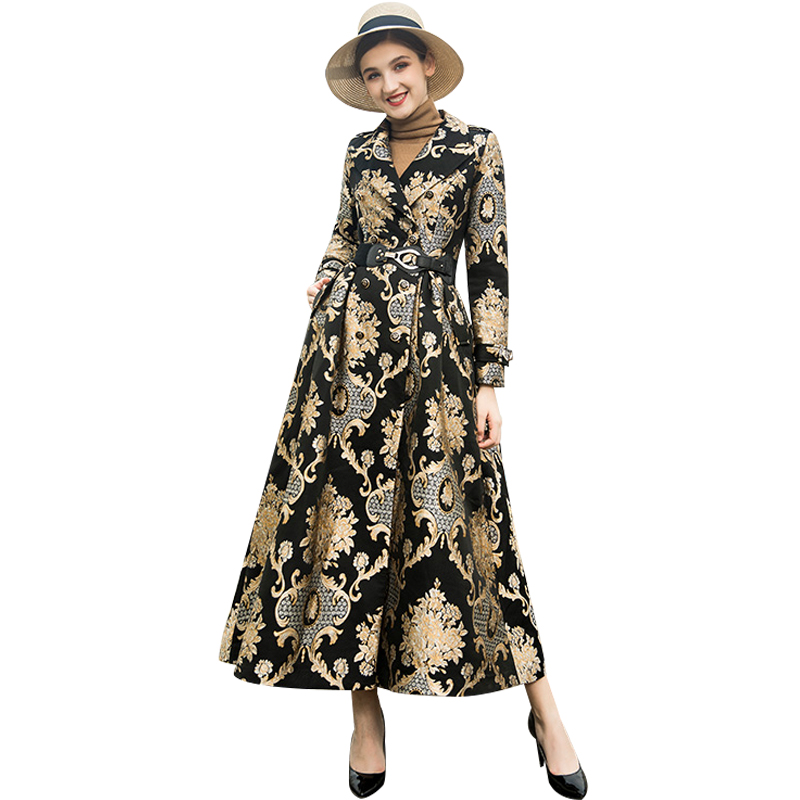 S-XXXL Winter Embroidery Long Coat Florals Plus Size Luxury Trench Women Double Breasted Muslim Style Outwear Coat DZ2052