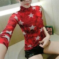 2017 New Women T Shirt Autumn Spring Star Print Turtleneck Casual Womens Long Sleeve T Shirt