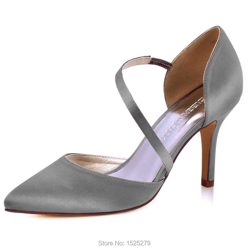 HC1711 Women high heel Dress Prom Pumps Steel Pointy Toe D orsay Satin lady  bride 9bccfbad96d2