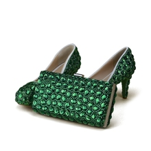 Green Rhinestone Handmade Wedding Shoes with Clutch Bag 3 Inches Thin Heel  Performance Pumps Party Prom 437ac1646c03
