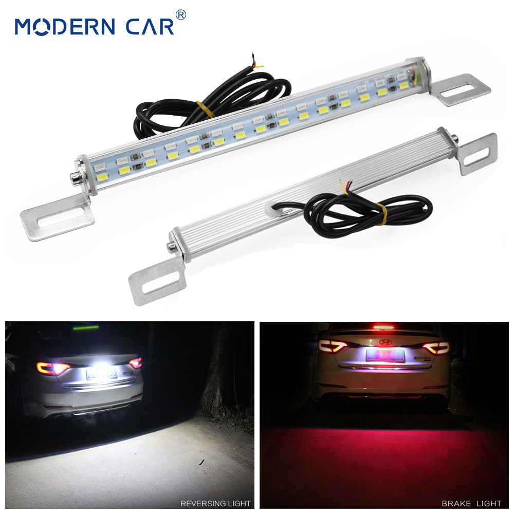 MODERN CAR White/Red 30Leds Rear Car LED License Plate Lights Brake Stop Lamp Tail Reverse Light Bar 5730 SMD License Plate Lamp