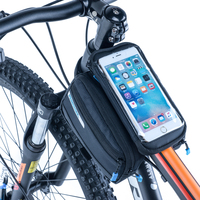 Roswheel Folding Bicycle Bag Front Frame Tube Bag MTB Road Double Pouches Touchscreen For 5 5