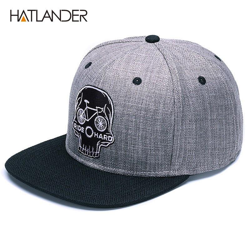 HATLANDER gorra de béisbol Original para hombre gorra de béisbol con calavera de bordado de marca gorra de hip hop de 6 paneles 2