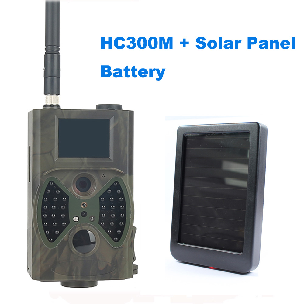 HD 1080P MMS GSM Infrared Trail Camera 12MP Hunting Camera HC300M with Solar Panel Battery