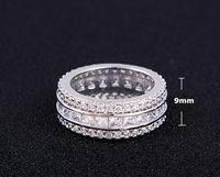Sz 6 11 Deluxe Silver Princess Cut Topaz Silver 18k White Gold Filled Women Men Wedding