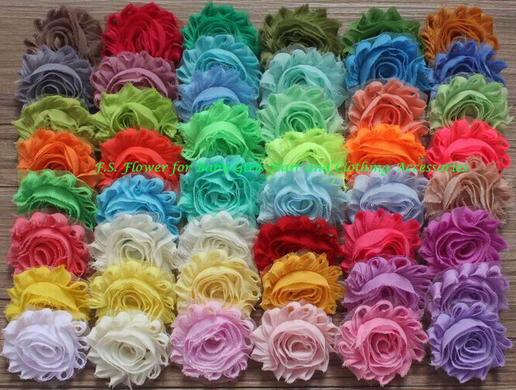 "500pcs 2.5"" shabby chiffon flower for girls headband,headwear hair clips barefoot sandals flowers"