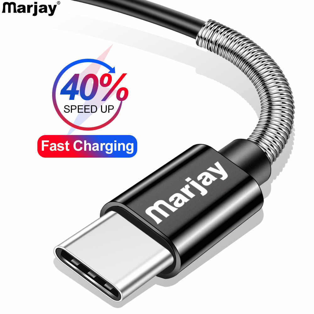 Marjay Type C Spring Cable for Samsung S10 Note9 Fast Charging Charger USB-C Cable for Huawei P20 lite Wire Data Cord for Xiaomi
