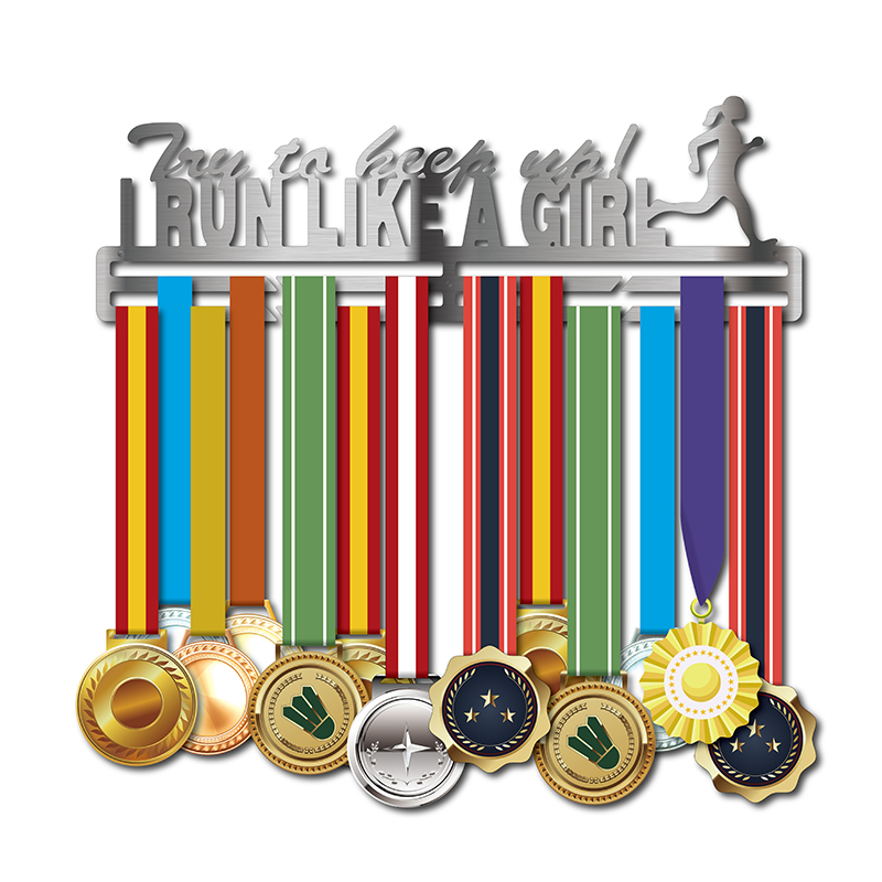 Presentes Medalha De esporte gancho EU Funciono Como UMA Menina medalha medalha de aço Inoxidável rack de exibição titular