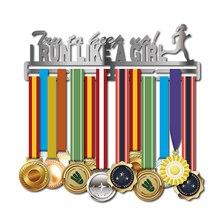 الرياضة هدايا ميدالية شماعات أركض مثل فتاة ميدالية رف شاشة الفولاذ المقاوم للصدأ ميدالية حامل