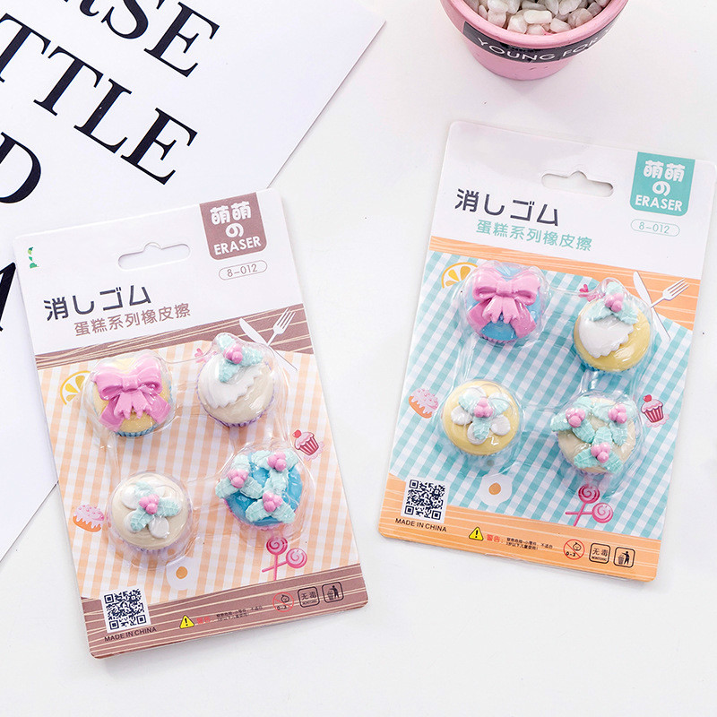 4Pcs/Set Cute Cake Pencil Erasers For Office School Creative Stationery Supplies Kawaii Kids Prize Writing Drawing Student Gift