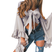 New Summer Women Blouse 2017 Petals Sleeve Short Chiffon Solid Color Tie Bow Knot Female Sexy