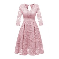 Women Dresses Sweet Vintage Blue OL Elegant Aline High Waist Lace Female Fashion Fall Preppy Style Pink Ladies Dresses