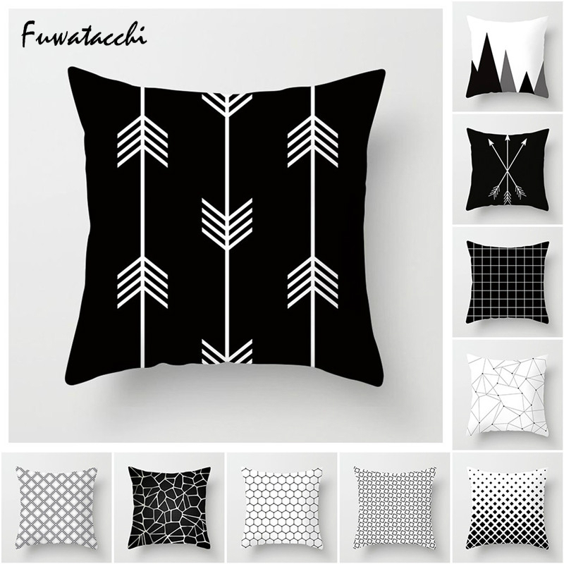 Fuwatacchi White Black Geometric Pillow Cover Dot Star Stripe Cushion Cover For Home Sofa Chair Car Decorative Pillows