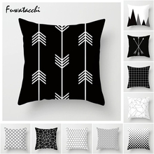 Fuwatacchi White Black Geometric Pillow Cover Dot Star Stripe Cushion for Home Sofa Chair Car Decorative Pillows