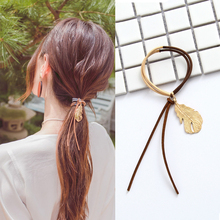 M MISM Elegant Women Hair Accessories Elastic Hair Bands Metal Leaves Double Colors Girl Ponytail Holder Scrunchy Ornaments(China)