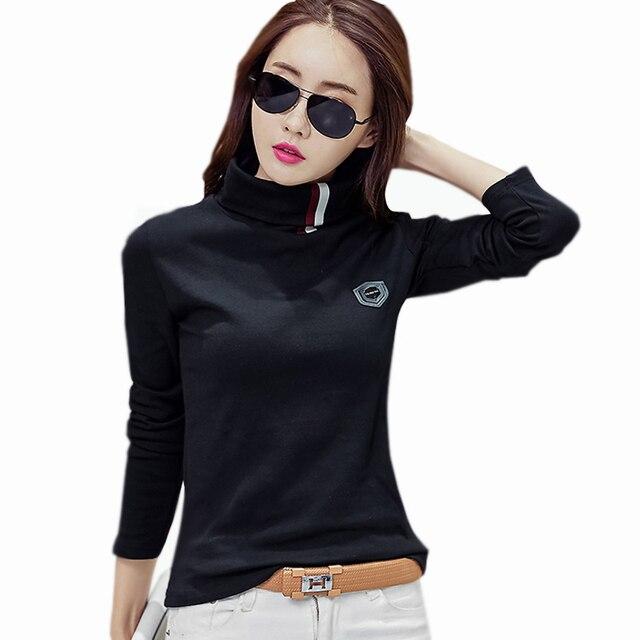 10593da8b61c6 Femme Camisetas Tees 2018 Otoño Invierno mujer Tops Basic t-shirt mujeres  calientes Camisetas cuello