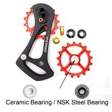 цена на MTB Bicycle Rear Derailleur 17T Carbon Fiber Ceramic Bearing Aluminum Alloy Bike Pulleys Jockey Wheel road For Cycling Accessory