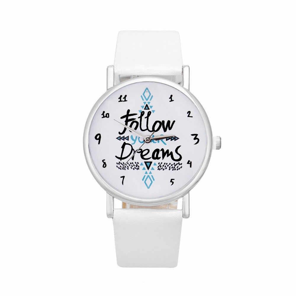 Frauen Uhren Mode Retro Design Leder Band Frauen Folgen Träume Worte Muster Leder Uhr Uhr Stunde reloj mujer hombre