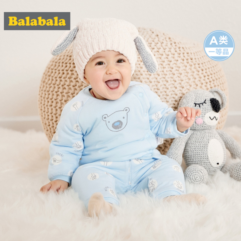 Balabala Infant Baby Boy Girl 2-Piece 100% Cotton Thermal Long-sleeved Shirt + Pull-on Pants Set for Winter Newborn Baby ClothesBalabala Infant Baby Boy Girl 2-Piece 100% Cotton Thermal Long-sleeved Shirt + Pull-on Pants Set for Winter Newborn Baby Clothes