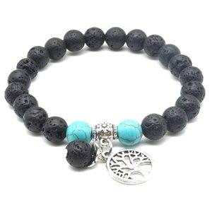 Image 3 - Liebhaber Baum des Lebens 8mm Lava Stein Kallaite Healing Balance Perlen Reiki Buddha Gebet Ätherisches Öl Diffusor Armband Schmuck
