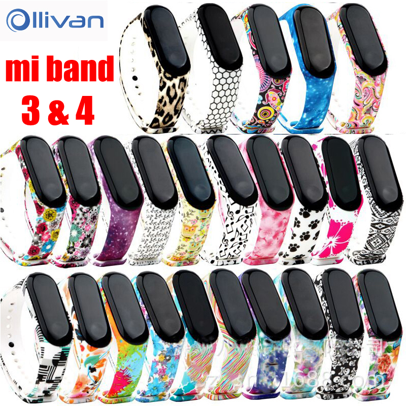 Mi Band 3 4 Strap Camouflage Silicone Universal Wrist Strap For Xiaomi Mi Band 4 3 Band4 Band3 Bracelet Cartoon Printing TPU