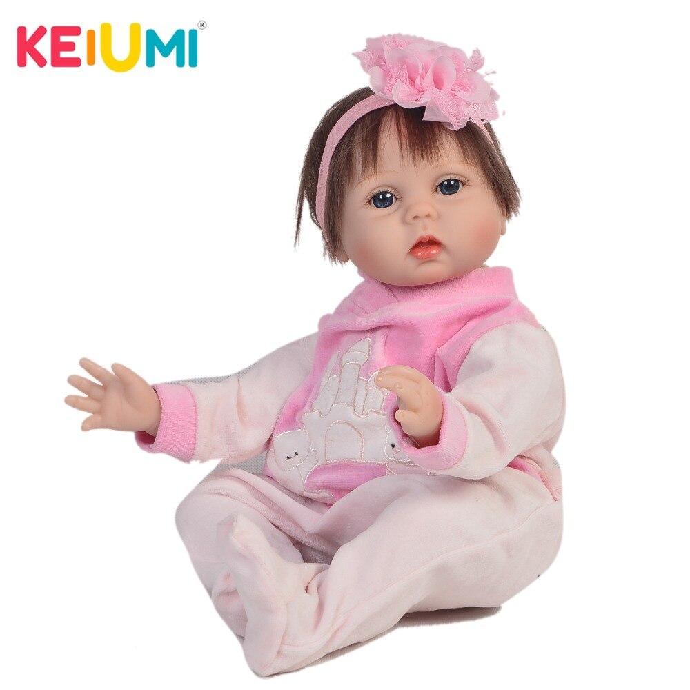 KEIUMI 55 cm Lifelike Reborn Baby Dolls Soft Silicone Body 22 Inch Fashion Baby Reborn Girl Fiber Hair kids Christmas Gifts все цены