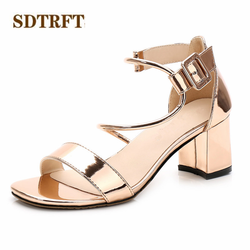 SDTRFT Plus:34-39 Stiletto female Summer shoes woman 6cm Med Thick High-Heeled Open Toe sexy sandals Buckle Narrow Band pumps luxury suede gladiator sandals women sexy point toe stiletto heel narrow band studded buckle party shoes