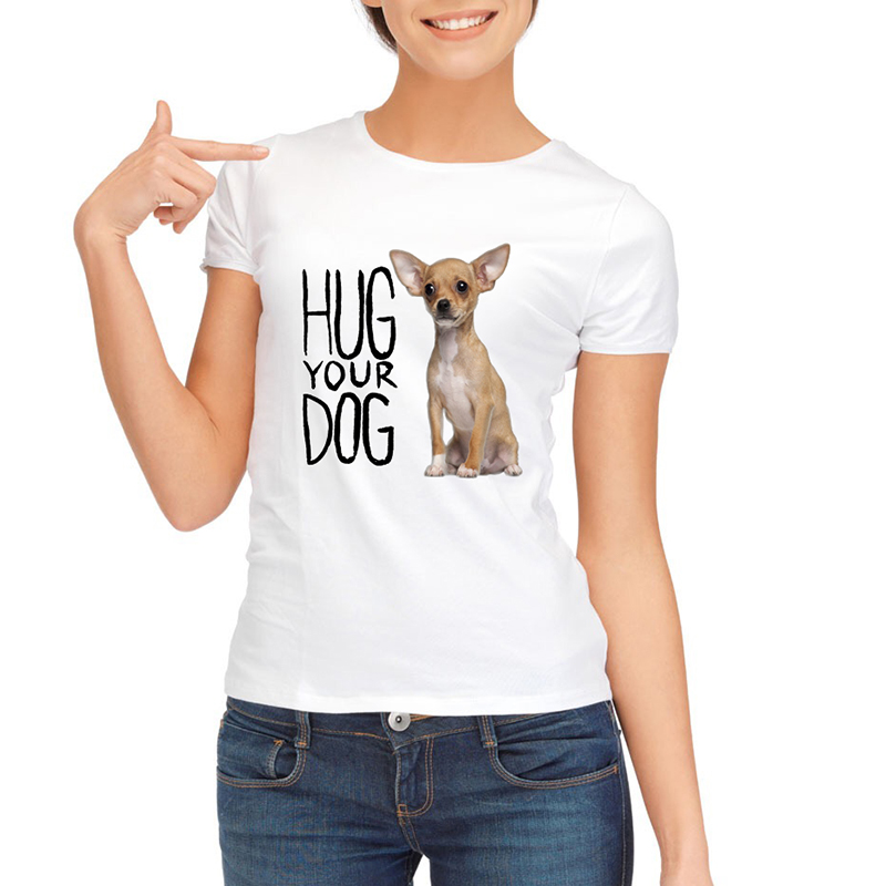 2019 Fashion Chihuahua bedrukte dames T-shirt korte mouw Casual - Dameskleding