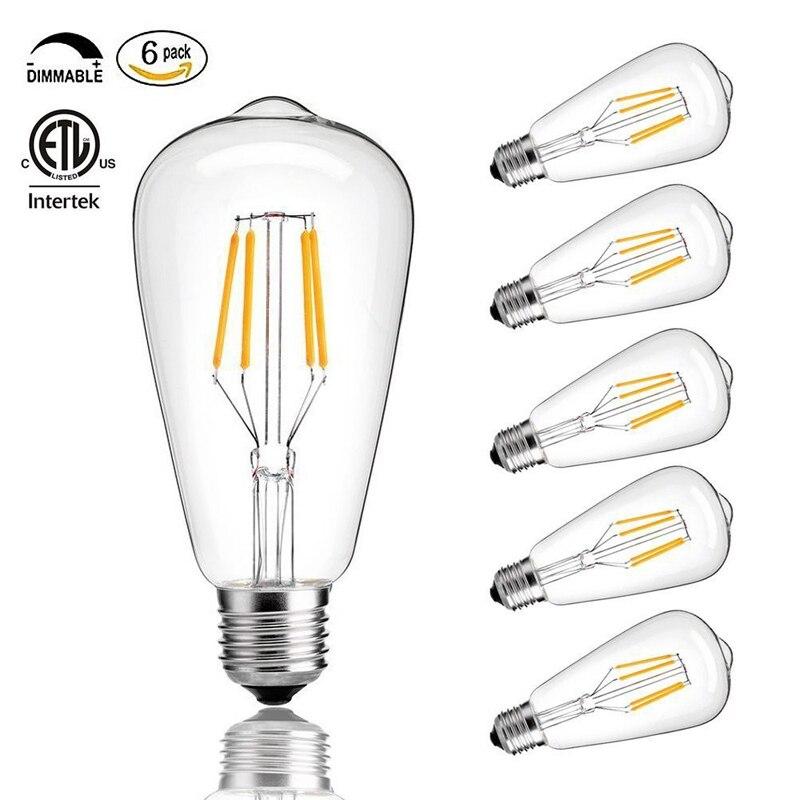 Vintage <font><b>Edison</b></font> <font><b>LED</b></font> Bulb,<font><b>Dimmable</b></font> 4W ST64 Antique <font><b>LED</b></font> Bulb Squirrel Cage Filament Light For Decorate Home, E26 Warm White